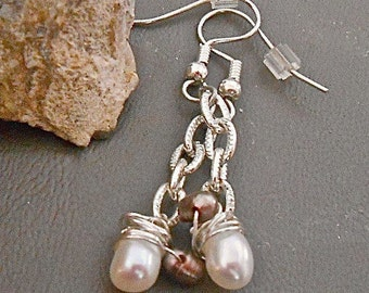 Earrings White and Taupe FreshWater Pearls  Dangles Petite Wedding Party Everyday Wear Gift