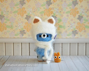 kawaii Bear in kitty helmet hat, fuzzy crochet amigurumi bear, blue stuffed plush bear, mini golden chibi totoro
