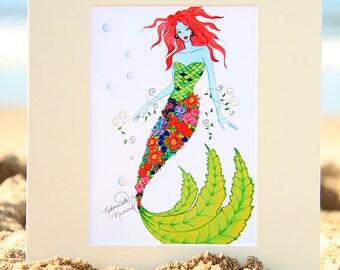 Mademoiselle Mermaid Art Print - Tropical Style Mermaid Fashion Illustration - Beach House Decor - 4x6, 5x7, or 8x10 Fantasy Artwork
