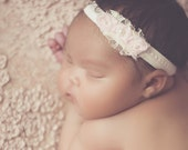 New! Soft Pink Newborn band Rose and Pearl Baby Pink White Bow Flower Rosettes Headband Lace, Pearls