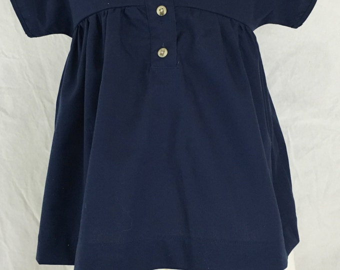 Navy Blue Baby Girl's Smock Dress, Organic Cotton, Size S/M, Children & Toddler Clothing, Simple Girl's Dress