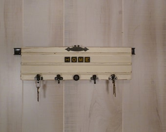 Architectural Salvage Key Rack Wood Vintage Shabby Chic