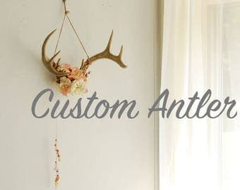 Custom Deer Antler Downpayment - Real Wall Hanging Flowers Floral Beads Feathers Decor Decoration Wedding Nursery Taxidermy Boho Art
