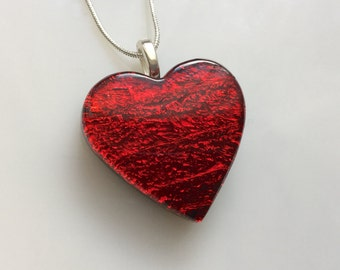 Red Dichroic Heart Pendant, Fused Glass Jewelry, Dichroic Red Heart Necklace