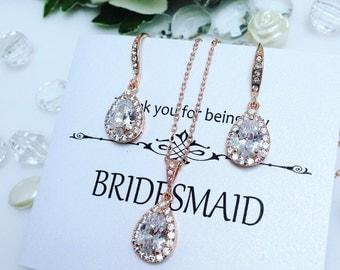 Rose Gold Bridesmaid Jewelry Set, Simple Bridal Jewelry Set, Rose Gold Bridesmaid Earrings Crystal, Bridesmaid Jewelry Crystal Bridesmaid