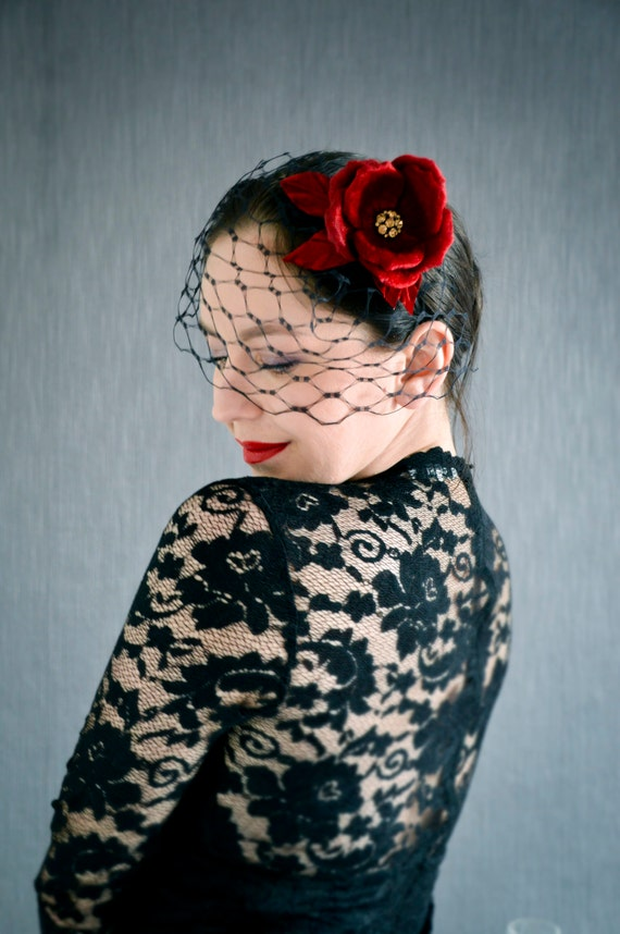 Black Birdcage Veil with Velvet Rose