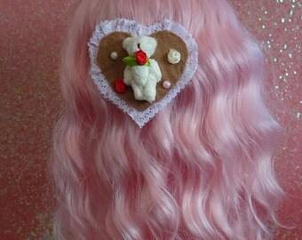 Sweet Lolita Magical Valentines Floral Bear 2 Way Headpiece & Brooch