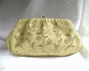 Vintage Beaded Purse, Mid Century, Bridal Clutch, Gold Evening Bag, Rhinestone Clasp, Vintage Silk Purse, Gold Beaded Purse, Made in Japan