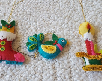 Set of Vintage Christmas Ornaments Felt Beads Sequins Bird Candle Stocking