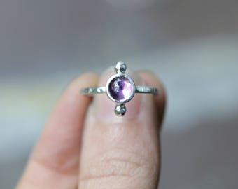 Amethyst Ring Sterling Silver - Minimalist Purple Amethyst Stacking Ring - Modern Gemstone Ring - Celestial Jewelry - Boho Stackable Ring
