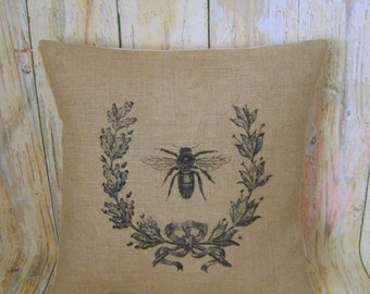 """Regal Bee - 16"""" Hessian Jute burlap cushion/pillow cover Vintage French shabby chic country UK handmade"""