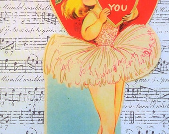 Ballerina VINTAGE Valentine's Day Card 1950's Beauty!