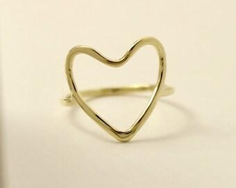 14k gold heart ring, 14k heart ring, Solid gold heart ring, 14k gold ring, 14k thumb ring, 14k knuckle ring, valentines gift, 10k Heart ring