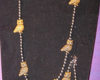 ASYCEMETERICAL OWL JEWELRY Set with Metilic Beads