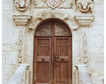 Travel Photography Doorway Fine Art Photography Architecture Photo Ivory Neutral Art Floral Door Shabby Exterior Doorway Art Beige and Brown