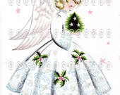 Digital image Vintage Christmas girl, pink, holly, stars, angel, Norcross Angel Dreams, cute, dress, muff, sweet, glitter