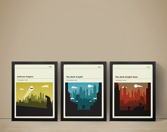 Batman Movie Posters - Set of Prints, Movie Print, Film Poster, Indiana Jones Poster, Film Print