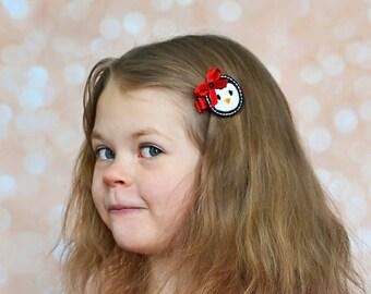 Penguin Girl Hair Clip, Penguin Hair Cip, Penguin Hair Bow, Penguin Bow, Christmas Hair Clip, Christmas Hair Bow, Toddler Hair Clips