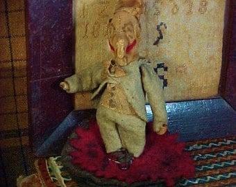 Antique Handmade Pen Wipe, Penwipe, Mr. Punch, Late 19th c.