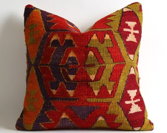 Kilim Pillows - Kilim Cushion Cover - Kilim Pillow Cover - Bohemian Kilim Pillow Cover - Decorative Pillows - Floor Pillows - Throw Pillow