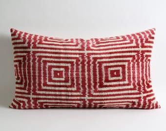 Silk Velvet Ikat Pillow Cover Ikat Pillows Red White Geometric Sofa Lumbar Pillow Ikat Bedding Pillow Sham Ikat Couch Pillow