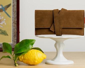 Clutch bag, brown clutch bag, wallet, tobacco pouch, vegan clutch bag, vegan wallet, accessory cases, Alcantara, faux suede clutch.