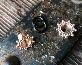 Rose Gold Satin Finish Plugs/ Gauged Earrings