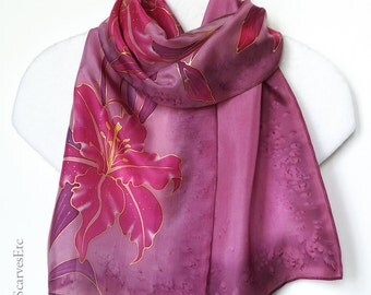 Pink Lily scarf, Hand painted silk scarf, Floral pink burgundy scarf, Stargazer lily silk scarf, Gift for her, Art Silk, Mom's gift