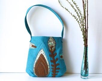 Turquoise Shoulder Bag/ Unique Shoulder Bag/ Turquoise Brown/ Floral Shoulder Bag/ Floral Applique/ Vegan Bag/ Everyday Shoulder Bag