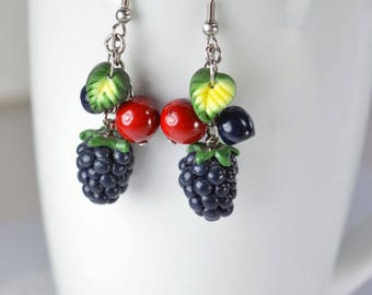 Earrings, wild berries, creation in polymer clay Fimo, blackberries and berries, fruit Fimo, rug, created in polymer clay