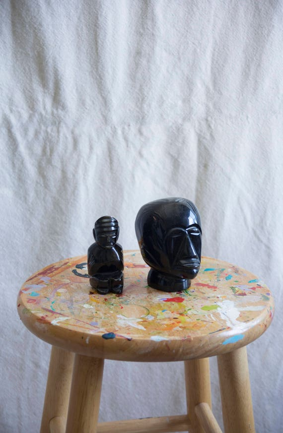 Black Onyx Carved Figurines Set