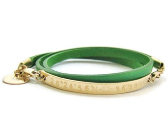 Personalized Leather Wrap Bracelet, Coordinate Bracelet, Gold Bar Bracelet, Latitude Longitude, Custom Coordinates Jewelry, Leather Bracelet