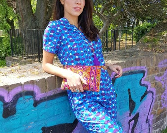 Short Sleeve Jumpsuit /Rompers made in Handmade Blue and Purple Print  Abstract Cotton with Pockets and Piping
