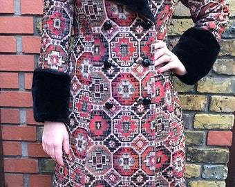 Vintage 1960s to early 1970s thick tapestry coat