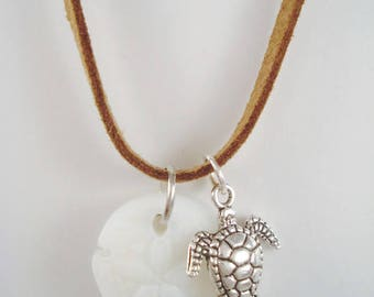White Sea Glass Sand Dollar Necklace Beach Ocean Summer Turtle Jewelry