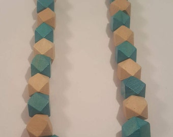 Teal and wood beaded necklace - wood necklace - necklace - geometric necklace - teal necklace - tan necklace