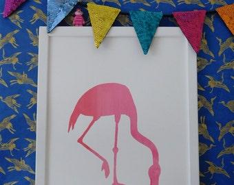 Marbled pink flamingo screen-print A3