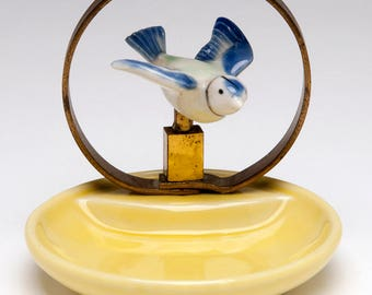 Vintage Wade Bouldray Blue Bird of Happiness on yellow whimsie or whimtray/pin tray porcelain made in England