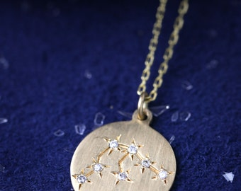 Aquarius constellation necklace, Aquarius star sign pendant, Aquarius strology necklace, 14k yellow gold rose gold white gold, sc-n101-aqu