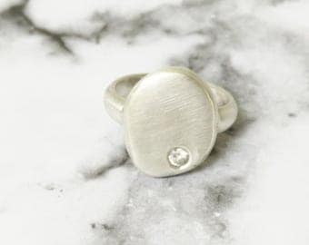 Flattened Sterling Silver Nugget With White Zirconia,Stunning Handmade Ring, Silver Ring, Gold Ring, Statement Ring