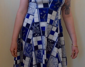 Blue and white patchwork patterned circle skirted dress- S/M
