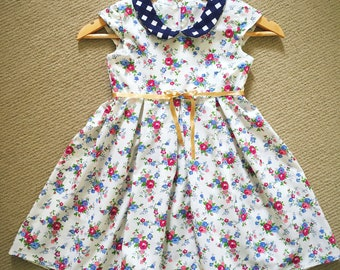 Spring Flowers pleated - dress for 5 / 6 year old girl