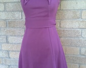 1970's Purple Knit Mini-dress Peter Pan collar sz- S
