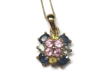 Vintage 90s 14K Blue Pink Green Yellow Sapphire Pendant Necklace