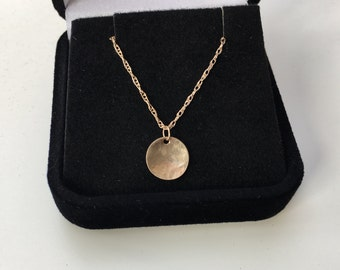 SOLID Gold Disk Necklace - 9mm Hammered Concave Disk - Choose Chain Design - Heirloom Quality - Marked 14K