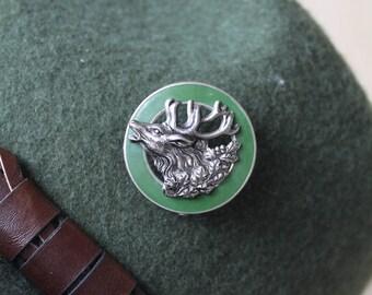 Vintage Real Austrian/ Bavarian / Alpine German Hunting Oktoberfest Hat Pin - Roaring Red Deer with Circular Green Enamel Setting 1950's