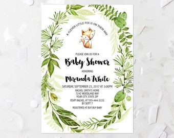 Spring Foliage Baby Shower Invitation Printable Woodland Fox Baby Shower Invite Greenery Wreath Boy Baby Shower Invite A Clever Little 263