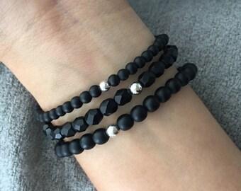 QUINSCO - Three Piece Matte Black Bracelet Stack