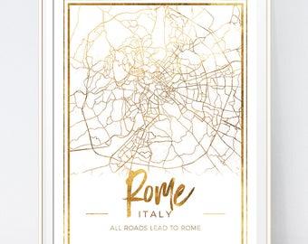 Map Print. Rome Map. World Map. Fashion Illustration. Modern Home Décor.