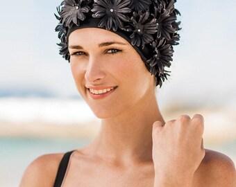 Retro Style Swim Cap - Fashy Swimming Hat - Black Fabric Petal Swim Cap - Vintage Style Petal Swim Cap (3453-20)